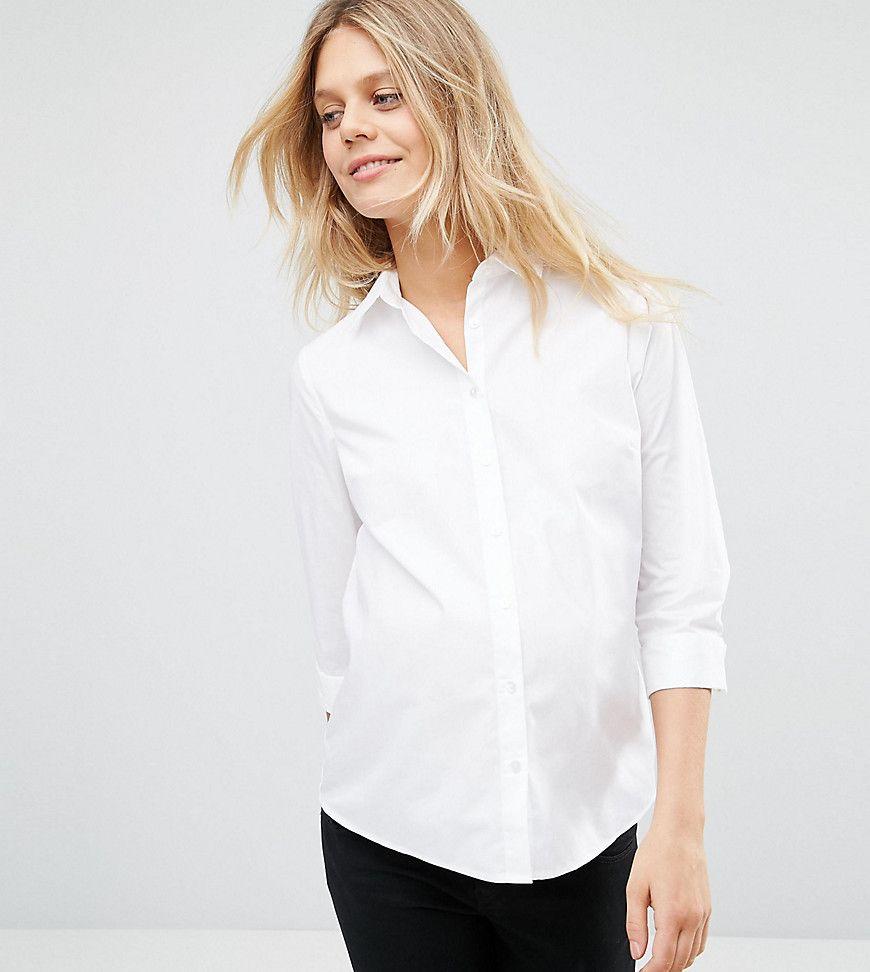 Офисная белая рубашка для беременных 21