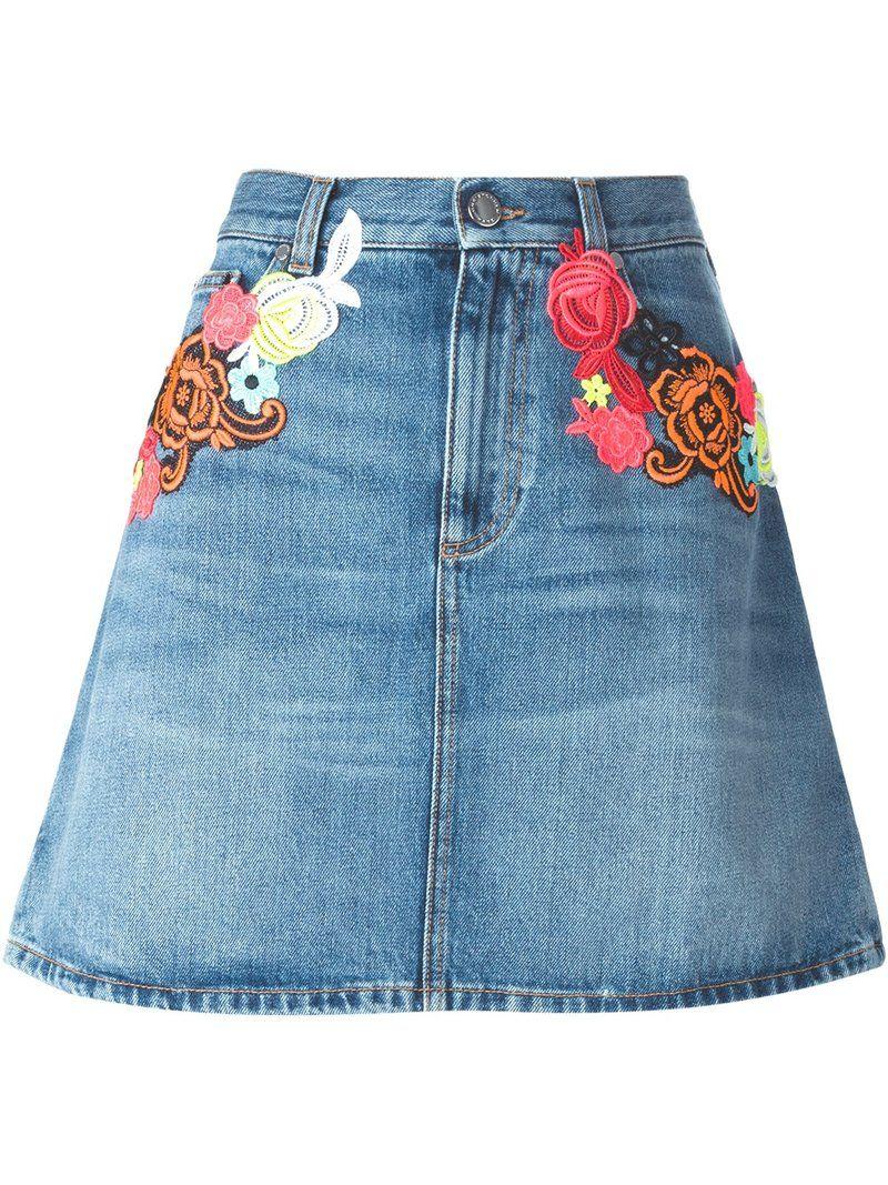 Джинсовая юбка с вышивкой 2018