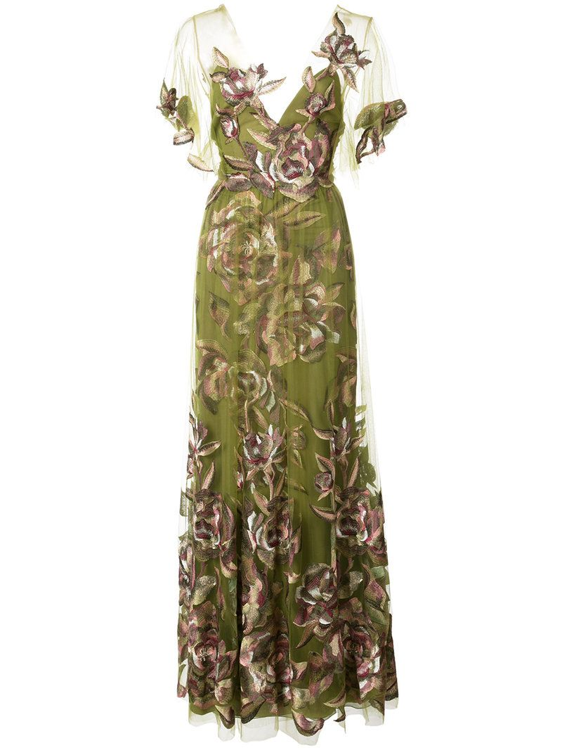 Платья зеленые с вышивкой