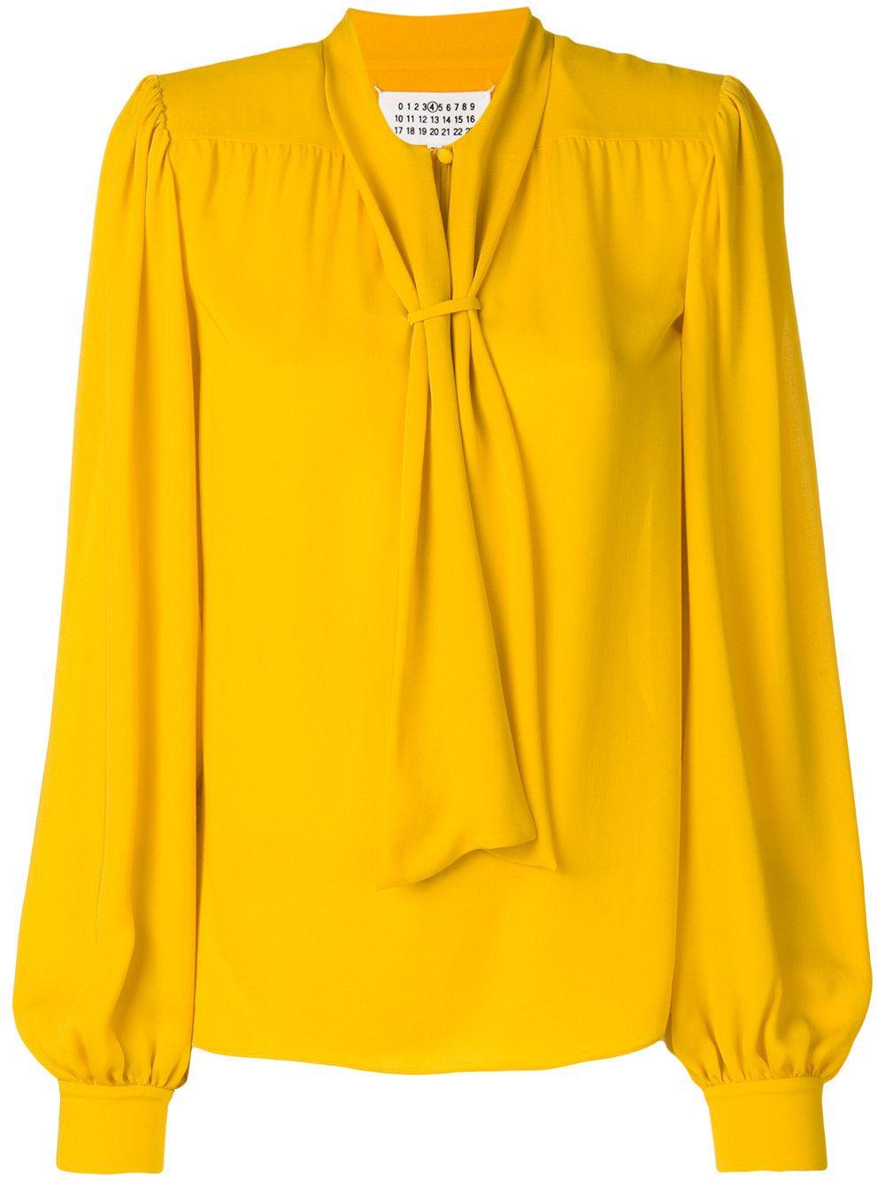 Желтая Блузка С Бантом Купить