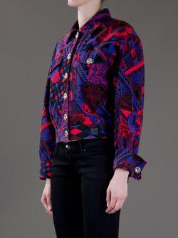 Джинсовая Куртка С Узором Versace                                                                                                              розовый цвет