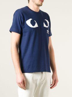 Футболка С Принтом Логотипа Comme Des Garcons                                                                                                              синий цвет