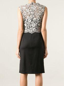 Платье С Кружевным Цветочным Топом Valentino                                                                                                              чёрный цвет