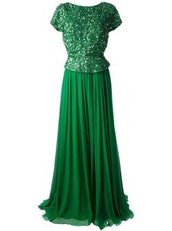 Длинное Вечернее Платье С Пайетками Elie Saab                                                                                                              зелёный цвет