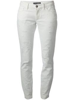 Узкие Джинсы С Протёртыми Деталями Dolce & Gabbana                                                                                                              белый цвет