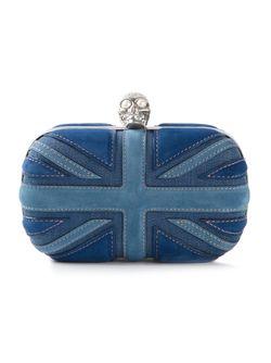 Замшевый Клатч-Футляр Britannia Skull Alexander McQueen                                                                                                              синий цвет