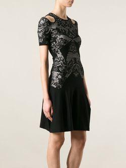 Трикотажное Платье С Оптическим Узором Mcq Alexander Mcqueen                                                                                                              чёрный цвет
