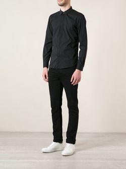 Рубашка С Джинсовым Воротником Diesel                                                                                                              черный цвет