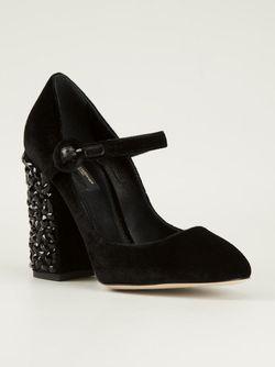 Туфли С Декоративным Каблуком Dolce & Gabbana                                                                                                              чёрный цвет