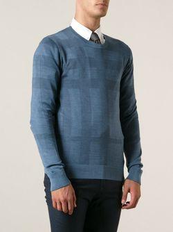 Жаккардовый Свитер В Клетку Burberry London                                                                                                              синий цвет
