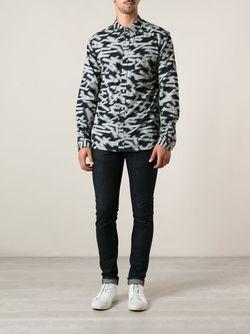 Жаккардовая Приталенная Рубашка Paul Smith Jeans                                                                                                              черный цвет