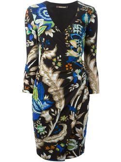 Платье В Принт С Оборкой Roberto Cavalli                                                                                                              черный цвет