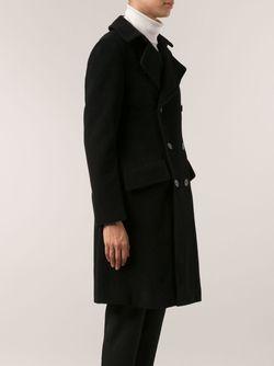 Двубортное Пальто Yohji Yamamoto                                                                                                              черный цвет