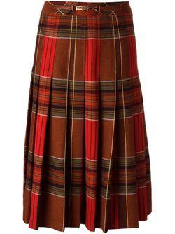 Плиссированная Юбка В Клетку Celine Vintage                                                                                                              коричневый цвет