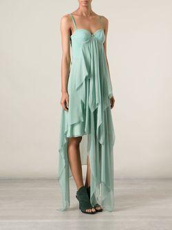 Многослойное Длинное Платье Marios Schwab                                                                                                              зелёный цвет