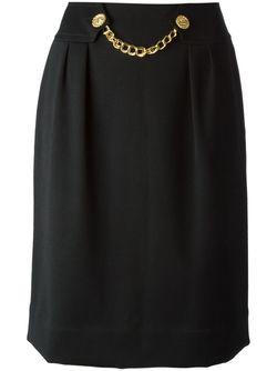 Юбка С Декоративной Цепью На Поясе Celine Vintage                                                                                                              чёрный цвет