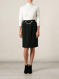 Юбка С Декоративной Цепью На Поясе Celine Vintage                                                                                                              черный цвет