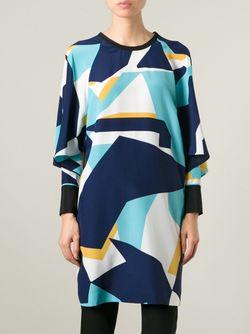 Платье С Геометрическим Принтом Fendi                                                                                                              синий цвет