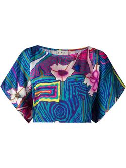Printed Cropped Blouse AMIR SLAMA                                                                                                              синий цвет