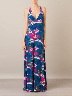 Длинное Платье С Цветочным Принтом AMIR SLAMA                                                                                                              синий цвет