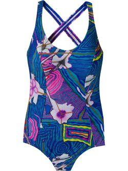 Printed Swimsuit AMIR SLAMA                                                                                                              синий цвет