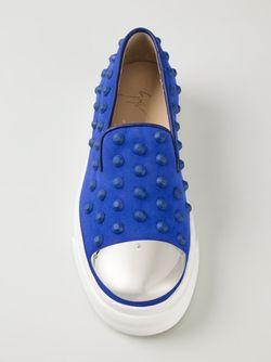 Кеды Слип-Он С Заклёпками И Контрастным Носком Giuseppe Zanotti Design                                                                                                              синий цвет