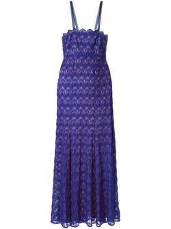 Вязаное Крючком Удлинённое Платье Missoni                                                                                                              синий цвет
