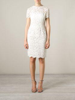 Приталенное Кружевное Платье Valentino                                                                                                              белый цвет