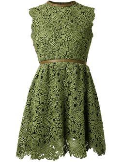 Кружевное Платье С Открытой Спиной Valentino                                                                                                              зелёный цвет