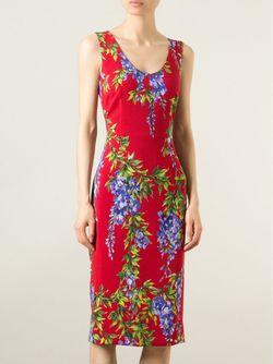 Платье С Принтом Глицинии Dolce & Gabbana                                                                                                              красный цвет
