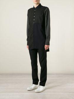 Длинная Лоскутная Рубашка Ann Demeulemeester                                                                                                              чёрный цвет