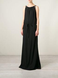 Длинное Платье С Поясом Ann Demeulemeester                                                                                                              черный цвет