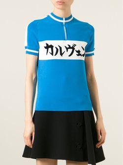 Свитер С Принтом На Японском Языке Carven                                                                                                              синий цвет