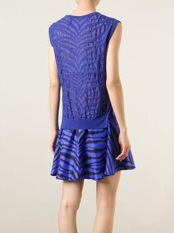 Расклешенное Платье С Зебровым Узором Emanuel Ungaro                                                                                                              синий цвет