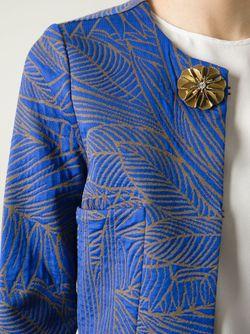 Укороченный Жакет С Лиственным Принтом Erika Cavallini                                                                                                              синий цвет