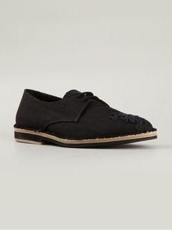 Туфли На Шнуровке С Цветочной Вышивкой Ann Demeulemeester                                                                                                              черный цвет