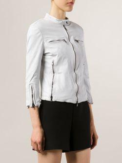 Классическая Кожаная Куртка R13                                                                                                              белый цвет