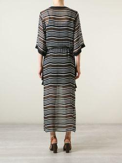 Прозрачное Полосатое Платье Макси Tory Burch                                                                                                              чёрный цвет
