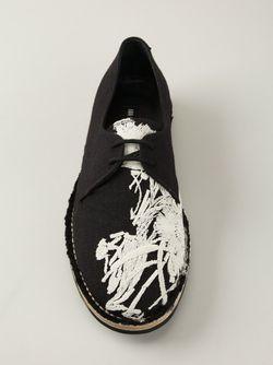 Туфли На Шнуровке С Вышитым Цветочным Узором Ann Demeulemeester                                                                                                              чёрный цвет
