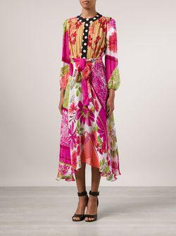 Платье С Цветочным Принтом И Поясом Duro Olowu                                                                                                              розовый цвет