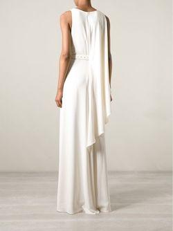 Вечернее Платье С Серебристым Поясом Halston Heritage                                                                                                              белый цвет