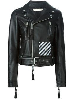 Байкерская Куртка OFF-WHITE                                                                                                              черный цвет