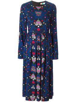 Расклешенное Платье С Принтом Сердец MSGM                                                                                                              синий цвет