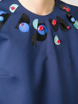 Декорированный Топ С Прозрачными Рукавами ROKSANDA                                                                                                              синий цвет