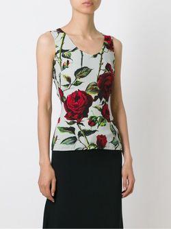 Топ С Принтом В Розы Dolce & Gabbana                                                                                                              зелёный цвет