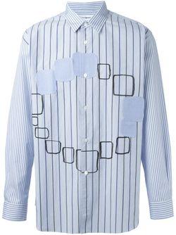 Рубашка В Полоску С Аппликациями Comme Des Garcons                                                                                                              синий цвет