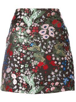 Юбка С Цветочной Вышивкой Valentino                                                                                                              чёрный цвет