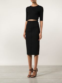 Ribbed Detail Knit Pencil Skirt Dion Lee                                                                                                              чёрный цвет