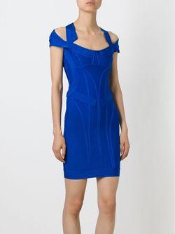 Приталенное Платье Lilliana Hervé Léger                                                                                                              синий цвет