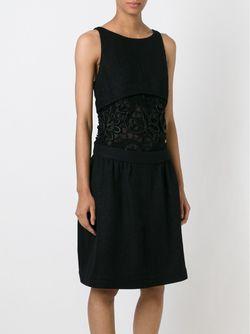 Платье С Вышивкой На Прозрачной Панели Chanel Vintage                                                                                                              чёрный цвет